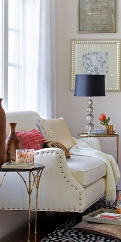 7 Rooms That Boot Out Winter With Throw Pillows. |This red woven pillow and champagne sparkle pillow is a great example of different textures working well to bring together an entire room.