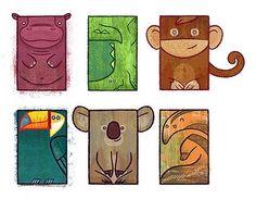 animals, bird, birds, cubism, hippo, illustration cute animal koala tamandua jacare