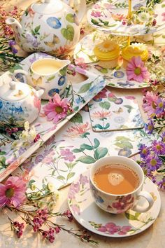 Tea and flowers make a perfect combination for a joyful moment.