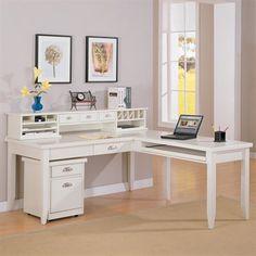 White Antiqued L Shaped Corner Desk With Included Hutch | For The Home |  Pinterest | Desks, Corner And Modern