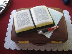 Edible Bible Cakes | This cake was for a brother going off to MTS. I used chocolate fondant ...