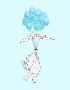 Wellesley and Winslow, Up, Up and Away - bunny & elephant art by Sarah Jane