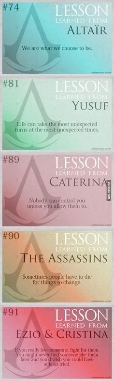 Some Assassin's Creed life lessons. William Higinbotham developed an analogue computer with vacuum tube Funny Life Lessons, Funny Quotes About Life, Assassins Creed Quotes, Asesins Creed, Video Game Quotes, Video Games, Dale Carnegie, Life Humor, Lessons Learned