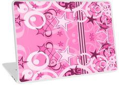 Pink Retro Circles and Stars   Design available for PC Laptop, MacBook Air, MacBook Pro, & MacBook Retina
