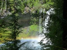 A glimpse of a rainbow seen over Sahalie Falls in Oregon. A rare opportunity for photographers and anyone enjoying majestic beauty. Crater Lake National Park, National Parks, Oregon Trail, Pacific Northwest, Waterfalls, Opportunity, Natural Beauty, Photographers, Paradise