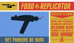 Food Replicator - a bunch of recipes that mimic food served on the various Star Trek series. Some of them look tasty, while others I'll pass on (pretty much all of the Klingon based entries).