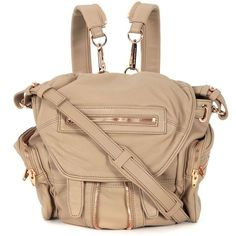 Alexander Wang Backpacks (£490) ❤ liked on Polyvore featuring bags, backpacks, beige, snap bag, mini backpack, knapsack bags, mini bag and miniature backpack