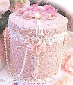 Pink lace pearls tea caddy
