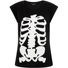 Black Glow In The Dark Skeleton T-Shirt ($12) ❤ liked on Polyvore featuring tops, t-shirts, glow in the dark t shirts, x ray t shirts, black t shirt, black tee and skeleton t shirt