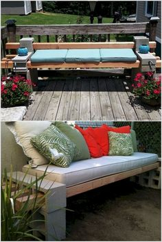 Inexpensive way to spruce up a fire pit area or ba… Budget Friendly Patio Design. Inexpensive way to spruce up a fire pit area or back porch/patio with guest seating. Cinder Block Furniture, Cinder Block Bench, Cinder Block Garden, Cinder Blocks, Patio Design, Garden Design, Concrete Garden Bench, Cement Bench, Garden Benches