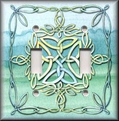 Light Switch Plate Cover - Celtic Knot - Blue Green - Medieval Home Decor