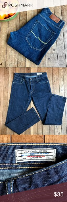 """Jack & Jones """"Tim Original"""" jeans EUC.  No flaws to note.  Sold at Asos.  Even dark wash. """"Tim Original"""" style.  Approximate measurements taken with garment laying flat: waist 33"""", inseam measures 31"""".  (Tag reads 32.  Pants do not appear to be hemmed) Jack and Jones Jeans Slim Straight"""