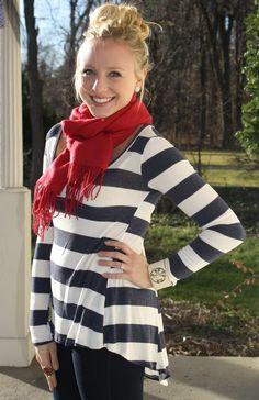 Sweet in Stripes Tunic in Navy, $46.50