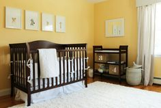 Lights and yellows but with dark wood is good! Baby nursery.