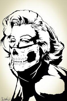 Marilyn Monroe w/ Skull Bandana Balaclava // by Clarafornia