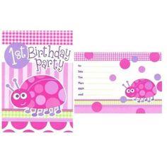 First Birthday Pembe Renk Uğur Böceği 1 Yaş Kız Davetiye 8 Adet