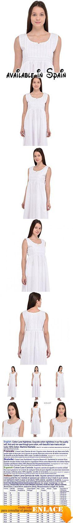 """B076H5FDJ2 : Cotton Lane Cotton White Classic Vintage Reproducción Plus Size camisón.. Camisón N78WT. Camisón lujosamente bordado y decorado en nuestro fino algodón fino suave y no transparente. Decorado con hermosos bordados.. Las medidas de Busto / Pecho que se muestran en el archivo adjunto son medidas corporales.. Altura del modelo: 5 pies 8 """"/172.5 cm. El modelo lleva la talla: 38.. Permita una variación de 0.5-1 pulgada en las medidas del busto / cofre ya que"""