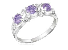 3+stone+diamond+amethyst+ring | Stone 1.5 Carat Amethyst and Diamond Accents Criss-Cross Ring in ...
