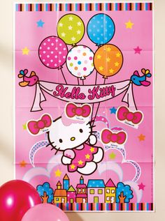 """Hello Kitty Balloon Dreams Party Game - Contains: 1 game board measuring 37.5"""" high x 24.5"""" wide, 3 sheets of 4 stickers (12 total), and 1 blind fold."""