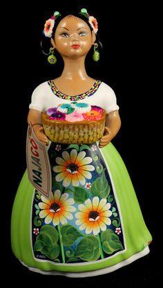 """Lupita"" Doll Daisy Seller Lime Green Ceramic Mexican Folk Art"