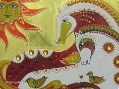 Картина панно рисунок Новый год Витраж Роспись Такие разные кони Диски компьютерные Краска Стекло фото 12