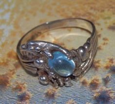 ART NOUVEAU HANDMADE Abstract Design Ring with Genuine 1.70ct. Sky Blue Topaz on 925 Sterling Silver, size 7.5 - Collectible