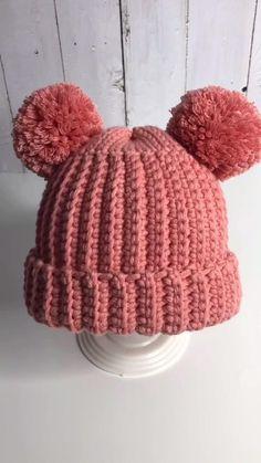 Easy Crochet Hat, Bonnet Crochet, Crochet Flower Tutorial, Crochet Beanie Pattern, Baby Knitting Patterns, Crochet Crafts, Crochet Patterns, Crochet Toddler Hat, Loom Knit Hat