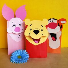 party favors, favor bags, thanksgiving crafts, treat bags, paper bag puppets, paper bags, disney villains, winnie the pooh, parti