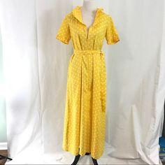 Vintage Full Length Yellow Polka Dot Maxi Dress M