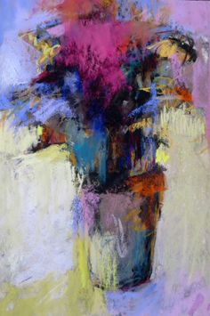 Little Bouquet with Magenta 9x6 pastel on sanded paper by Debora L. Stewart.  www.deboralstewart.com
