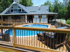 Oval Above Ground Pools, In Ground Pools, Wooden Pool Deck, Tiered Deck, Pool Decks, Deck Design, Decking, Porch, Backyard