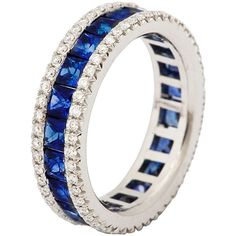 Sapphire Diamond Platinum Eternity Band Ring ($7,000) ❤ liked on Polyvore featuring jewelry, rings, blue, blue diamond jewelry, blue sapphire ring, blue ring, platinum rings and platinum eternity ring