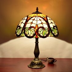 Tiffany Style Table Lamp, MKLOT Ecopower Baroque Lighting 12-Inch Wide Glass Shade 12T27R090# Retro Art Table Lamp Light with 1-Light - - Amazon.com