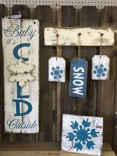 "Winter, Snow, January, Holiday/Seasonal Wood Sign Decor Bundle  » Handmade & Painted, Rustic Distressed ""Pallet"" Wood Signs"