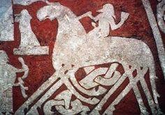 Viking horse - Runestone depicting Odin riding Sleipnir. 8th C Arde, Sweden