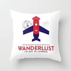 """""""royal travel"""" by romina lutz   schwebewesen home decor throw pillow pillows accessories kissen art design product style trends london wanderlust vector art"""
