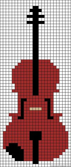 Violin or cello (minus the chin rest) Perler Patterns, Loom Patterns, Beading Patterns, Bracelet Patterns, Cross Stitch Music, Simple Cross Stitch, Cello, Cross Stitch Designs, Cross Stitch Patterns