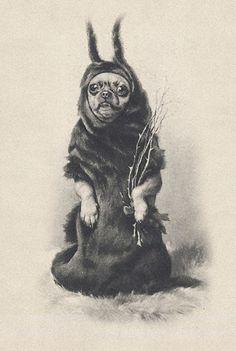 Chihuahua as Krampus (vintage card)