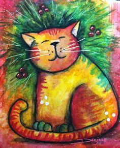 My repurposed art- the Christmas cat