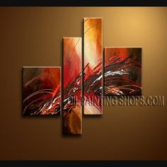 Amazing Modern Abstract Painting Oil Painting On Canvas Panels Gallery Stretched Abstract. This 4 panels canvas wall art is hand painted by Bo Yi Art Studio, instock - $142. To see more, visit OilPaintingShops.com