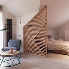 The Local Project is a great place for more modern, sleek design ideas. This timber room divider designed by Zrobym Architects is one of them that feel more 'approachable' to the typical joe. Don't fight your rooms architectural quirks - highlight them!
