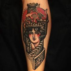 Girl in a castle I did awhile ago. Two last day at LTW! One free spot wednesday midday! #decraneo #traditionaltattoo #tattoo
