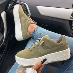 Swarovski Nike Air Force 1 Sage Low Women Casual Sneakers Made with SWAROVSKI Crystals - Olive - These boots r made 4 walking - Mode Converse, Sneakers Mode, Casual Sneakers, Sneakers Fashion, Sneakers Workout, Nike Fashion, Fashion Shoes, Cheap Fashion, Nike Casual Shoes