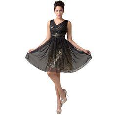 282259a7b9cc6  59.62 - Cool Stunning Backless Knee Length Short Prom Dresses Grace Karin  Sexy Black Sequin Dress