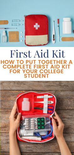 """A first aid kit is on every """"dorm essentials"""" list and we recommend packing your own for a college-bound kid rather than buying a pre-made one off the shelf. This list, from a pharmacist and mom, has everything, and we mean EVERYTHING,  they'll need. College Mom, College Classes, Scholarships For College, College Students, Mom Survival Kit, Survival Guide, Diy First Aid Kit, Dorm Essentials, Teen Life"""