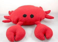 Crabby Dog Toy, squeaky, handmade, red, crab, sea, animal, spring, nature, beach, squeaker, ocean, pet toy, plush, stuffed