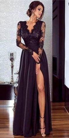 a55a74d61f7 Robe de soirée longue noire fendue en dentelle Robe De Soirée Sexy