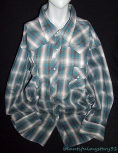 WRANCHER BY WRANGLER PLAID MENS PEARL SNAP BUTTON FRONT WESTERN SHIRT *3X*