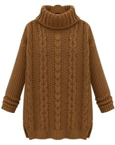 Khaki High Neck Long Sleeve Cable Knit Sweater US$32.46 / tienda sheinside