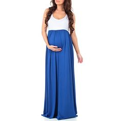 Women's Sleeveless Ruched Color Block Maxi Maternity Dres...
